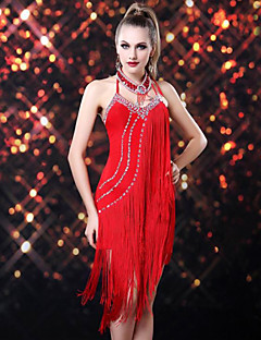 Latin Dance Dresses Women's Performance Rayon / Spandex Tassel(s) 1 Piece Black / Fuchsia / Red / Royal Blue Latin DanceSpring, Fall,