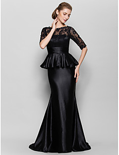 Lanting Trumpet/Mermaid Mother of the Bride Dress - Black Floor-length Half Sleeve Lace / Charmeuse