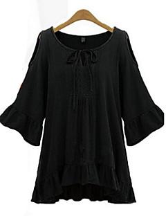 여성의 솔리드 라운드 넥 ¾ 소매 블라우스,심플 캐쥬얼/데일리 화이트 / 블랙 가을 중간