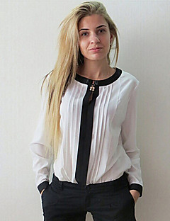Women's Casual/Daily Simple Fall Blouse,Solid Round Neck Long Sleeve Blue Pink White Black Others Thick