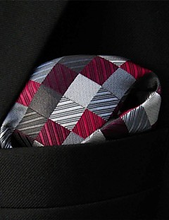 Men's Pocket Square Burgundy Checked 100% Silk Business Multicolor