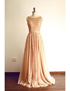 포멀 이브닝 드레스 A-라인 스쿱 스윕 / 브러쉬 트레인 튤 와 비즈 / 허리끈/리본