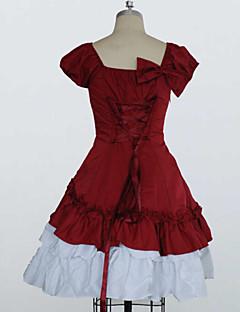 maniche corte in cotone fiocco arricciato vestito lolita classico
