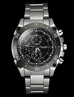 Herren Armbanduhr Quartz Legierung Band Silber Weiß Schwarz