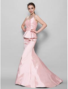 Lanting Bride® Cauda Escova Tafetá Vestido de Madrinha - Sereia Coração com