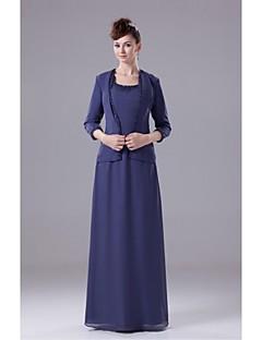 Brautmutterkleid - Königsblau Chiffon - Etui-Linie - bodenlang
