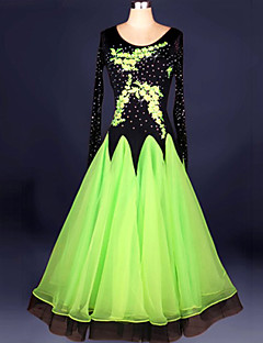 Ballroom Dance Dresses Women's Performance Chinlon / Crepe Crystals/Rhinestones / Embroidery 1 PieceGreen / Red / Royal Blue / White /