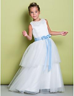 A-line Floor-length Flower Girl Dress - Satin / Tulle Sleeveless