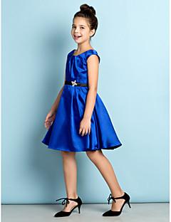 Knie-Lengte Satijn Junior bruidsmeisjesjurk - Koningsblauw A-Lijn Scoop