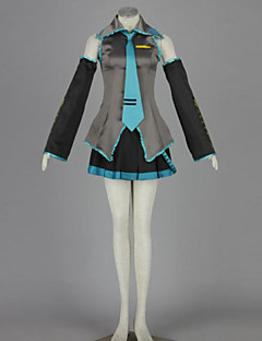 Inspirado por Vocaloid Hatsune Miku Anime Fantasias de Cosplay Ternos de Cosplay Patchwork AzulBlusa / Saia / Gravata / Manga /