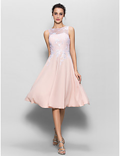 LAN TING BRIDE Bridesmaid Dress Knee-length Chiffon / Lace - A-line Scoop with Lace