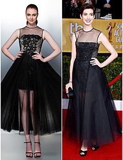 Homecoming / Prom / Formal Evening Dress - Black Plus Sizes / Petite A-line / Princess Jewel Tea-length Tulle