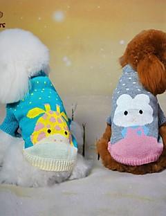 חתולים / כלבים סוודרים ירוק / כחול / אפור בגדים לכלבים חורף / קיץ/אביב אנימציה חמוד / יום יומי\קז'ואל