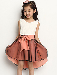 Girl's Solid Dress,Polyester Summer / Spring / Fall Pink / Yellow