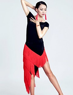 Latin Dance Outfits Women's Performance Nylon / Spandex / Polyester Tassel(s) 2 Pieces Green / Pink / Red Latin Dance / SambaSpring,