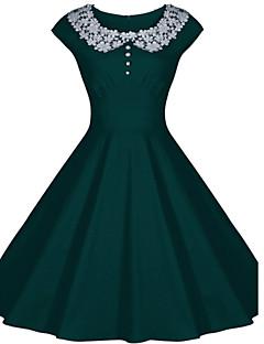 Women's Lace Round Collar Solid Color Plus Size Big Swing Hem Sleeveless Dress