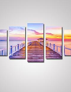 5 Panels Sunset Wooden Bridge  Picture Print on Canvas Unframed