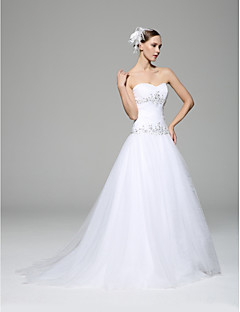 A-line Wedding Dress - White Chapel Train Sweetheart Satin