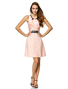 Cocktail Party / Company Party / Family Gathering Dress Sheath / Column Scoop Short / Mini Satin with Bow(s)