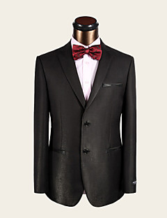 Suits Slim Fit Notch Single Breasted Two-buttons Wool Solid 2 Pieces Deep Blue Color Change Dark Green