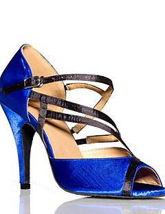Non Customizable Women's Dance Shoes Latin Leather Stiletto Heel Blue