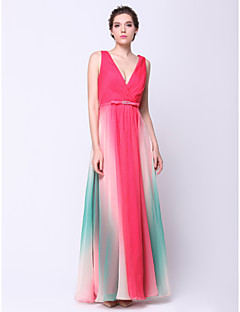 TS Couture® Formal Evening Dress - Color Gradient A-line V-neck Ankle-length Chiffon with Criss Cross