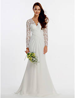 LAN TING BRIDE Sheath / Column Wedding Dress See-Through Sweep / Brush Train V-neck Chiffon Lace with Criss-Cross Lace