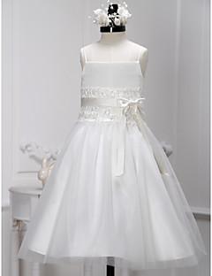A-line Tea-length Flower Girl Dress - Lace / Tulle Sleeveless