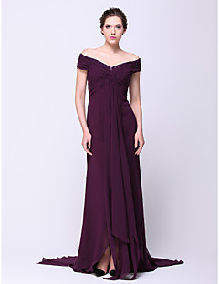 Formal Evening Dress A-line Off-the-shoulder Court Train Chiffon with Criss Cross