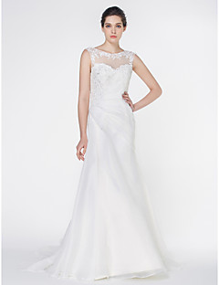 Lan Ting - Trumpet/Mermaid Wedding Dress - Ivory Court Train Scoop Organza