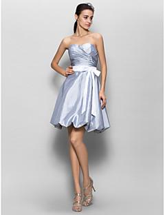 Noiva Lanting Até os Joelhos Tafetá Vestido de Madrinha Linha A Coração com Cruzado
