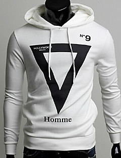 Sweatshirts & Hættetrøjer ( Bomulds Blanding ) MEN - Casual / Arbejde Hattetrøje - Lang Ærmet