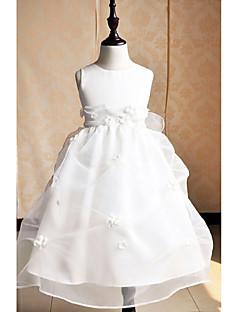 A-line Tea-length Flower Girl Dress - Satin / Tulle Sleeveless