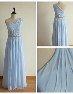 Brautjungfernkleid - Blau Chiffon - A-Linie - bodenlang - 1-Schulter