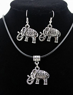Elephant Animal Pendant Silver Necklace & Earrings Jewelry Set
