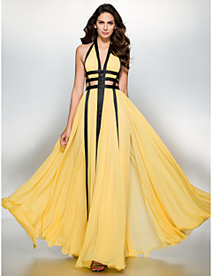 TS Couture Prom Formal Evening Dress - Color Block A-line V-neck Floor-length Chiffon with Split Front