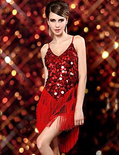 Dança Latina Vestidos Mulheres Actuação Elastano / Poliéster / Lantejoulas Lantejoulas / Borla(s) 1 Peça Sem Mangas Vestidos 57-76cm