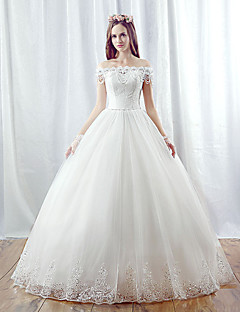 A-line Wedding Dress Floor-length Off-the-shoulder Organza with Beading
