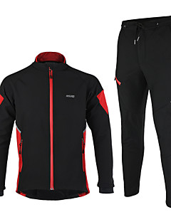 Arsuxeo Cycling Jacket with Pants Men's Long Sleeve BikeThermal / Warm Windproof Anatomic Design Waterproof Zipper Reflective Strips Back