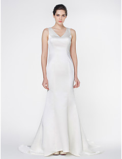Lan Ting - Trumpet/Mermaid Wedding Dress - Ivory Court Train V-neck Satin