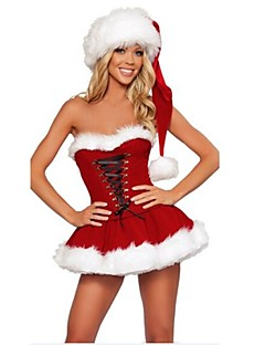 Polyester Strapless Sexy Women's Christmas Costume(dress+hat)