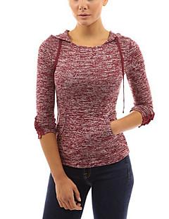 T-Shirt Da donna Nappa Con cappuccio Manica lunga Cotone
