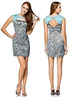 TS Couture Cocktail Party Dress - Print Sheath/Column Jewel Short/Mini Satin / Polyester