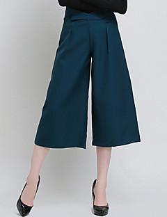 Women's Solid Black / Green Wide Leg Pants