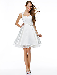 A-Line Sweetheart Knee Length Satin Cocktail Party Prom Dress with Buttons Flower(s) by TS Couture®