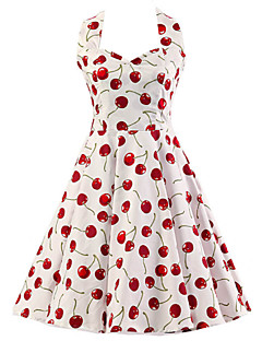 Women's Cherry Pattern Floral Dress , Vintage Halter 50s Rockabilly Swing Dress