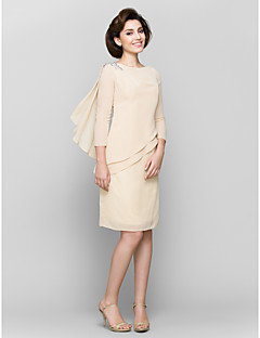 LAN TING BRIDE Sheath / Column Mother of the Bride Dress - Short Knee-length 3/4 Length Sleeve Chiffon with Crystal Detailing