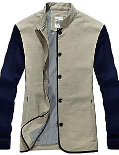 男性用 長袖 ジャケット , コットン カジュアル プレイン
