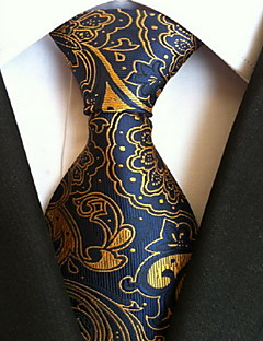 Men Wedding Cocktail Necktie At Work Blue Yellow Tie