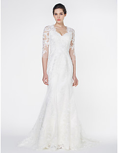 Lan Ting - Trumpet/Mermaid Wedding Dress - Ivory Court Train V-neck Tulle